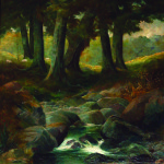 Artist: T.E. Drummond, Title: Rocky Stream, Mair Park, Media: Oil, Size: 89 x 69.5