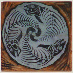 "Artist: Allan Gale, Title: ""Only Dead Fish Will Go With The Flow"", Media: Wood block for print"