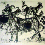 Artist: Juliet Peters, Title: Goats (1998), Media: Lithograph 7/14, Size: 40 x 50 cm
