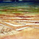 Artist: Alison Pickmere, Title: Pakiri Sandhills (1966), Media: Print 2/80, Size: 51 x 38.5