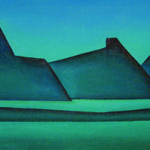 Artist: Freda Simmonds, Title: Blue Coastline Whangarei Heads, Media: Oil on canvas, Size: 67 x 27