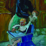 Artist: Michael Smither, Title: Kitchen Study - Mother & Child, Media: Oil on board, Size: 72 x 47 cm